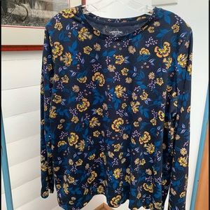 Lands' End Relaxed Fit Long Sleeve Floral Top XL
